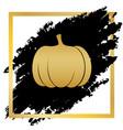 pumpkin sign golden icon at black spot vector image
