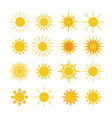 Sun icons set white vector image
