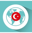 turkey flag pin map design vector image