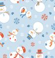 Cute snowmen pattern vector image vector image
