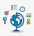 globe surrounded by objects icon vector image
