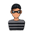 mysterious man with the mask hat hacker vector image