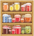 Store shelves with jam vector image