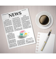 newspaper and a cup of coffee on a wooden table vector image