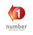 Abstract Logo Number 1 Figure Arrow Left Red Icon vector image