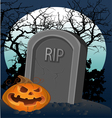 Halloween decoration - a grave with a pumpkin vector image vector image