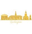 burlington city skyline golden silhouette vector image