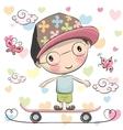 Cute Boy wiht a cap on a skateboard vector image