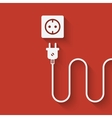 electric wire with plug near outlet vector image