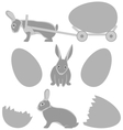 Grey rabbits with eggs isolated on white vector image
