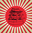 Japan osaka castle on sun flag vector image