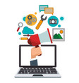 laptop hand with megaphone digital marketing vector image