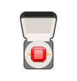 ring with ruby in box top view jewel isolated vector image