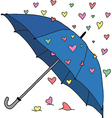 Umbrella and colourful hearts vector image