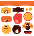 Thanksgiving retro tags and elements set vector image vector image