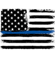 American Flag with Thin Blue Line Grunge Aged vector image