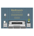 Bedroom design banner with furniture for your vector image