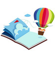 children on balloon in blue book vector image