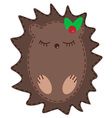Cute cartoon hedgehog vector image