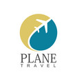 plane travel circle logo vector image