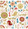 seamless pattern with flowers birds and hearts vector image