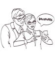 hipster couple looking phone Love couple vector image