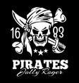 vintage label pirates skull vector image