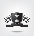 Trophy cup on black shield vector image