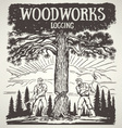 Loggers cutting down tree vector image