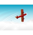 Cartoon red plane banner in the sky vector image