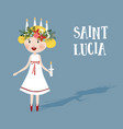 little blonde girl with floral wreath and candle vector image