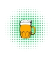 Mug of beer icon comics style vector image