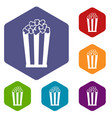 popcorn in striped bucket icons set vector image