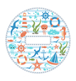 Sea life circle icon isolated on white vector image