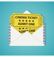 White envelope with two vintage cinema tickets vector image