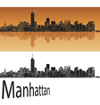 Manhattan skyline in orange vector image vector image