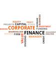 word cloud corporate finance vector image vector image