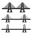 modern cable suspension bridge black symbol vector image