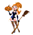 sexy witch in stockings with a pumpkin vector image