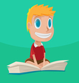 Man Character Happy Flying Book vector image