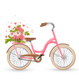 pink bicycle with cart full of flowers and hearts vector image