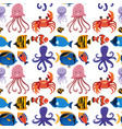 seamless background with sea animals vector image