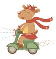 Deer girl on scooter vector image vector image