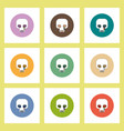 flat icons halloween set of skull concept on vector image