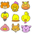 collection stock animal head colorful doodles vector image