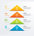 4 triangle timeline infographic options paper vector image