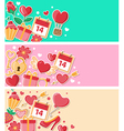 valentine flat banners vector image