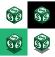 cube with dollar logo in isometric view vector image