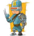Cartoon cool combat cyborg superhero vector image