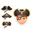 pirate hats set realistic head isolated template vector image vector image